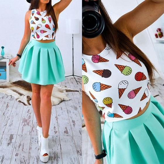 Casual Green Ice Cream Print Pleated Round Neck Mini Dress