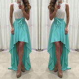 ByChicStyle Casual Green Patchwork Bow Round Neck Party Polyester Maxi Dress