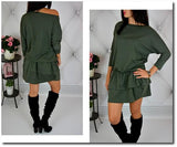 ByChicStyle Casual Green Plain Cascading Ruffle Round Neck Sports Mini Dress