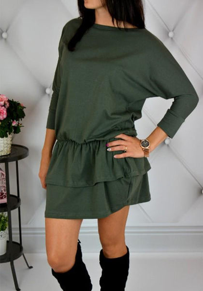 Casual Green Plain Cascading Ruffle Round Neck Sports Mini Dress