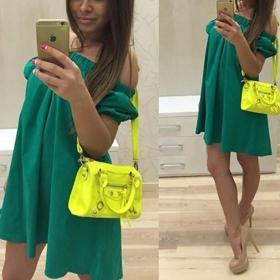 Casual Green Plain Cut Out Boat Neck Mini Dress