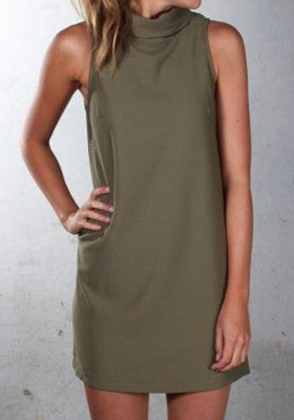 Casual Green Plain Draped High Neck Casual Polyester Mini Dress