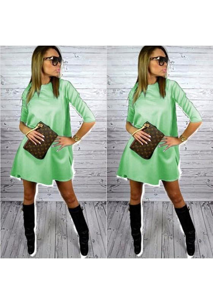 Casual Green Plain Draped Round Neck Streetwear Dacron Mini Dress