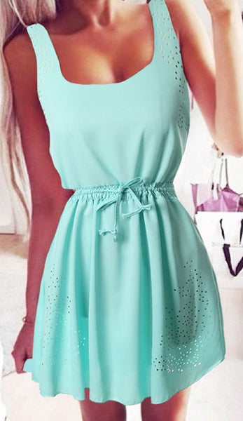 Casual Green Plain Drawstring Hollow-out Shoulder-Strap Chiffon Mini Dress