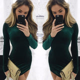 ByChicStyle Green Plain High Neck Long Sleeve Mini Dress