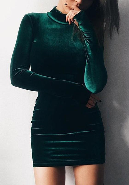 Green Plain High Neck Long Sleeve Mini Dress