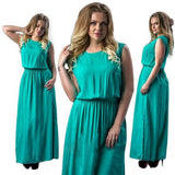 ByChicStyle Casual Green Pleated Tie Back Sashes Side Slit Plus Size Casual Maxi Dress