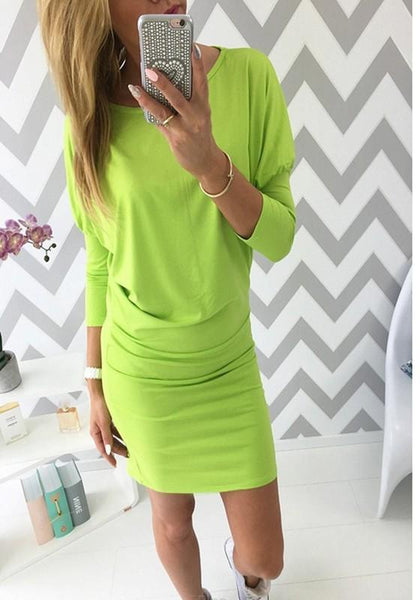 Green Round Neck Long Sleeve Casual Mini Dress