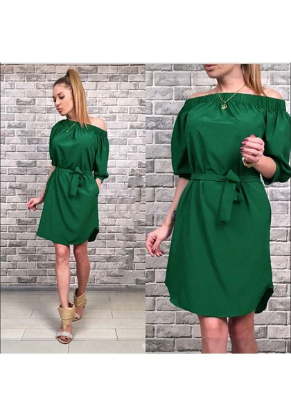 Casual Green Sashes Off Shoulder Half Sleeve Casual Mini Dress