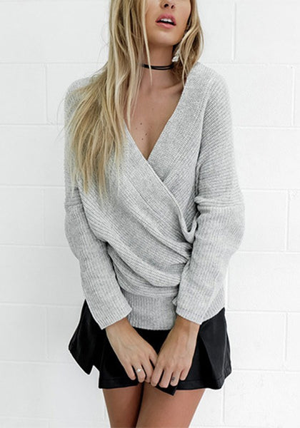 Grey Bandeau Off Shoulder Backless Oversize Casual Pullover Sweater