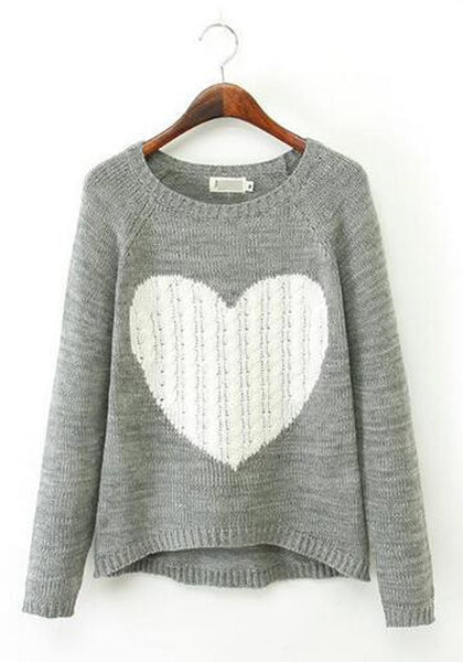 Grey Cartoon Pattern Round Neck Sweet Cotton Pullover Sweater
