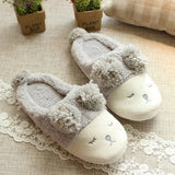 ByChicStyle Casual Grey Cartoon Sheep Print Faux Fur Furball Cute Flat Slippers
