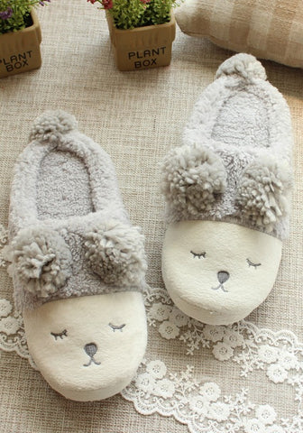 Casual Grey Cartoon Sheep Print Faux Fur Furball Cute Flat Slippers
