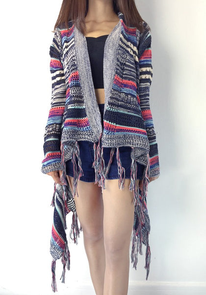 Grey Color Block Print Fashion Cardigan Sweater