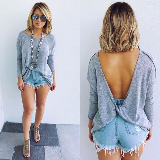 Grey Cut Out Round Neck Long Sleeve V-Back Casual T-Shirt
