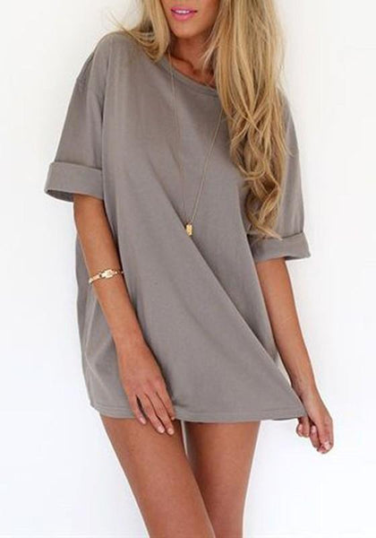 Casual Grey Draped Comfy Half Sleeve Round Neck Casual Mini Dress