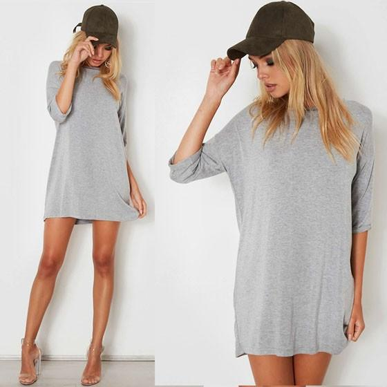 Casual Grey Draped Elbow Sleeve Round Neck Mini Dress