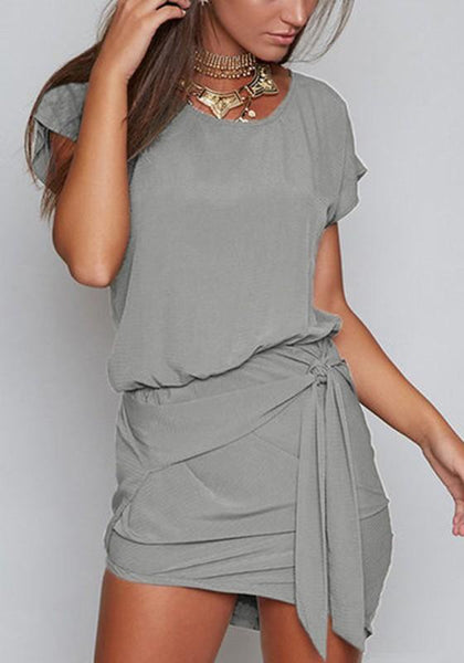 Casual Grey Irregular Round Neck Short Sleeve Mini Dress