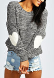 ByChicStyle Grey Love Oversize Round Neck Long Sleeve Pullover Sweater