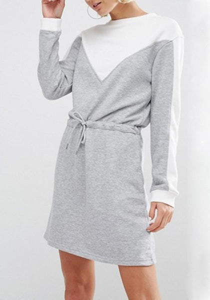 Grey Patchwork Drawstring Round Neck Long Sleeve Mini Dress