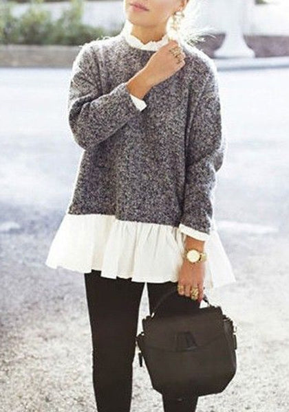 Grey Patchwork False 2-in-1 Long Sleeve Casual Pullover Sweater
