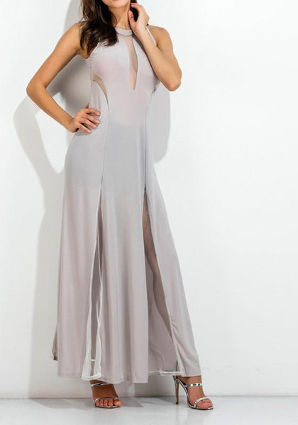 Casual Grey Patchwork Grenadine See-through Round Neck Sleeveless Maxi Dress