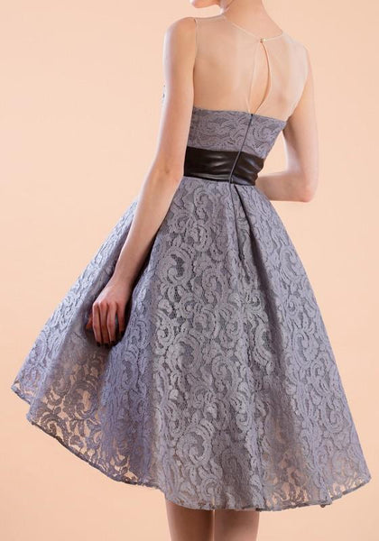 Casual Grey Patchwork Lace Belt Round Neck Sleeveless Mini Dress
