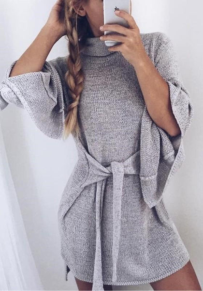 Grey Plain Belt High Neck Slit Long Sleeve Sweater Knit Mini Dress