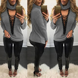 ByChicStyle Grey Plain Cut Out High Neck Casual Pullover Sweater