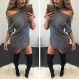 ByChicStyle Casual Grey Plain Cut Out Round Neck Short Sleeve Mini Dress