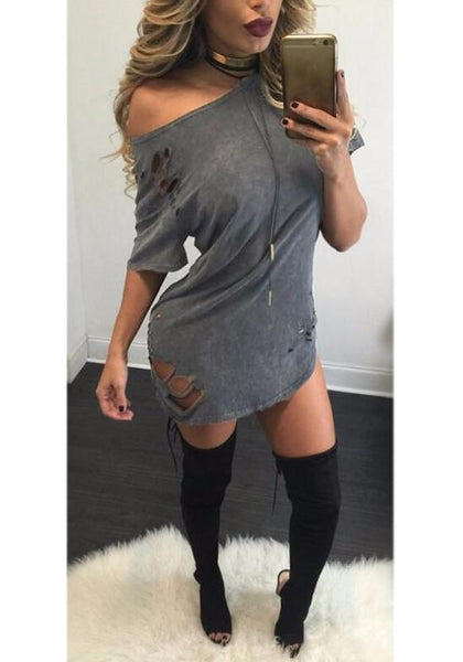 Casual Grey Plain Cut Out Round Neck Short Sleeve Mini Dress