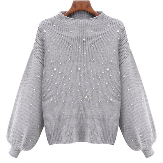 Grey Plain Pearl Band Collar Sweet Pullover Sweater