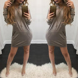ByChicStyle Grey Plain Pockets Drawstring Long Sleeve Hooded Jumper Mini Dress
