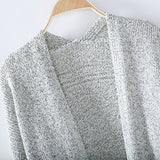 ByChicStyle Grey Plain Pockets Round Neck Long Sleeve Casual Cardigan Sweater