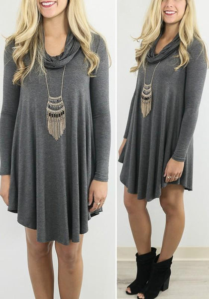 Grey Plain Ruffle Collar Long Sleeve Fashion Mini Dress