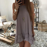 ByChicStyle Casual Grey Plain Ruffle Round Neck Fashion Cotton Mini Dress