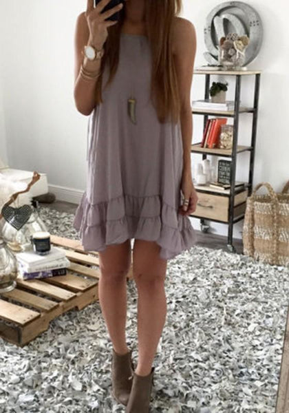 Casual Grey Plain Ruffle Round Neck Fashion Cotton Mini Dress