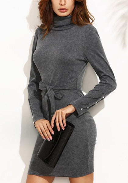 Grey Plain Studded Belt Long Sleeve Mini Dress