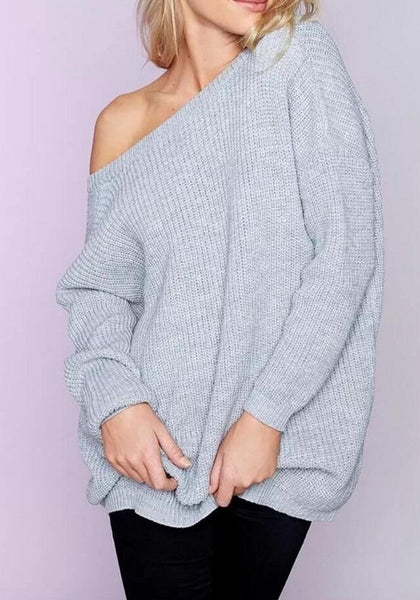 Grey Plain Two Wear V-neck Casual Loose Pullover Sweater