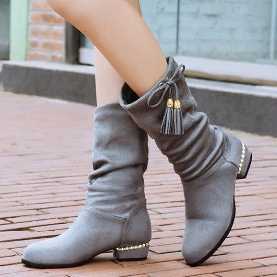 Casual Grey Round Toe Tassel Slip-On Mid-Calf Casual Boots