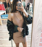 ByChicStyle Casual Khaki Condole Belt Plunging Neckline Slim Mini Dress