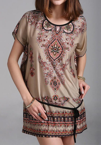 Casual Khaki Floral Dolman Sleeve Loose Dress