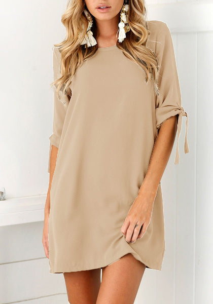 Casual Khaki Irregular Round Neck Elbow Sleeve Mini Dress