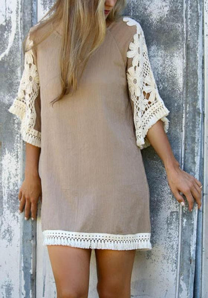 Casual khaki Patchwork Lace Tassel Elbow Sleeve Sweet Polyester