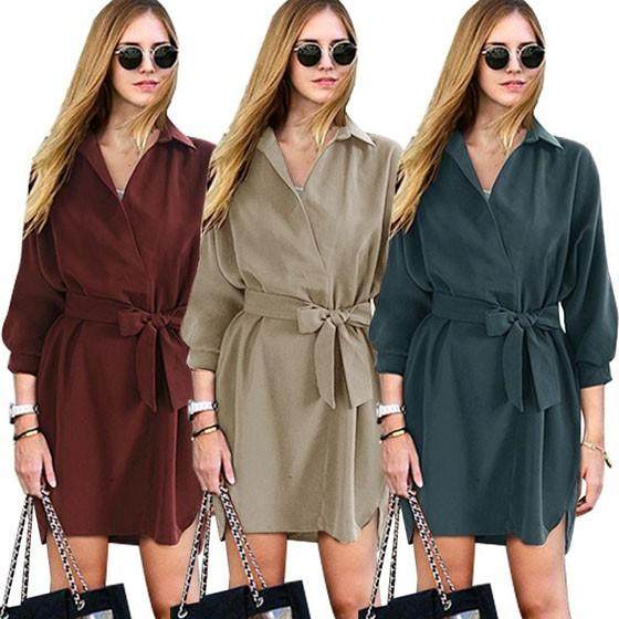Casual Khaki Plain Belt Bow Irregular Turndown Collar Mini Dress