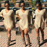 ByChicStyle Khaki Plain Hollow-out Irregular High-Low V-neck Casual Sassy Knit Oversized Dress Sweater