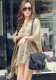 ByChicStyle Khaki Plain Hollow-out Tassel Cape Dolman Sleeve Pullover Sweater