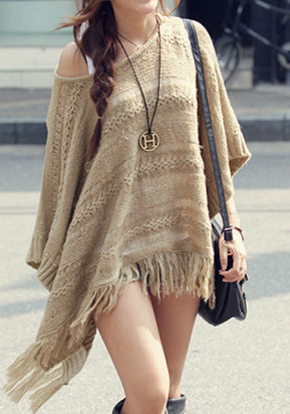 Khaki Plain Hollow-out Tassel Cape Dolman Sleeve Pullover Sweater