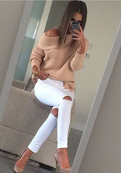 Khaki Plain Irregular Collar Loose Casual Pullover Sweater