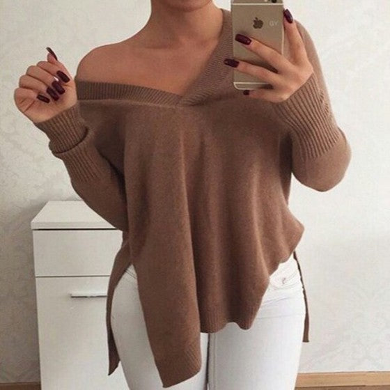 Khaki Plain Irregular V-neck Long Sleeve Pullover Sweater